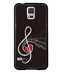 PrintVisa Designer Back Case Cover for Samsung Galaxy S5 Mini (outlined red heart musical notes)