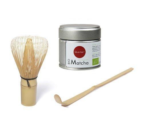 Matcha Set - Japan Matcha Pulver Bio - 30 g Dose - Premiumqualität PLUS Matcha Besen PLUS Matcha Bambuslöffel von Quertee®