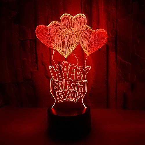 3D Lámpara Globo de regalo de cumpleaños lampara de ilusion óptica colores con control remoto, Decoracion LED Visual Luz de noche para niños Cumpleaños Regalos