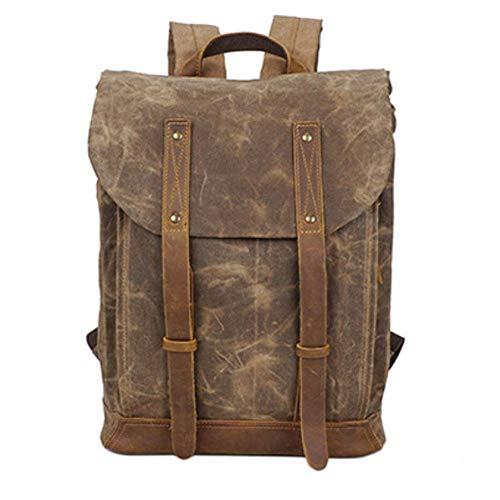 SHUAI Source Point Batik Canvas Shoulder Bag Retro Backpack Waterproof Outdoor Travel Shoulder Men's Backpack Oil Wax Canvas Bag - Batik-leder