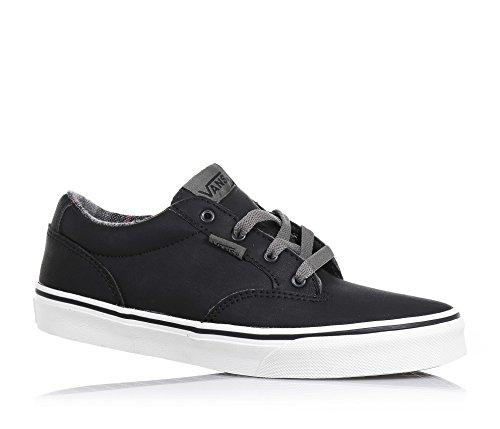 VANS - Schwarzer Schuh mit Schnürsenkeln aus Leder, mit Metall-Ösen, hinten und auf der Zunge ein Logo, sichtbare Nähte, Jungen Schwarz