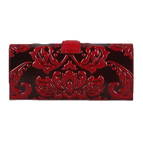 WU Zhi Lady In Pelle La Posizione Multi-card Fermasoldi Portafogli Red