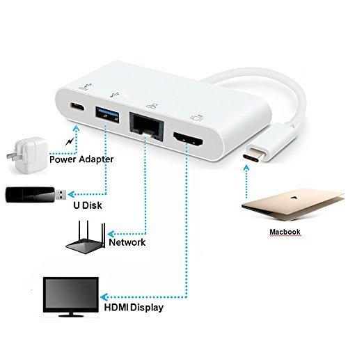 USB C HDMI;USB TYPE C HDMI;USB TYPE C HUB;USB C RJ45;USB Type C zu HDMI + USB Typ A + RJ45+Typ C Power Ladekabel Port Multi Hub Combo Adapter – usb-c zu SuperSpeed Standard USB 3.0, 4 K UHD 1080P HD Video Audio Konverter Stecker Kabel Draht Cord (Component-video-audio-combo-kabel)