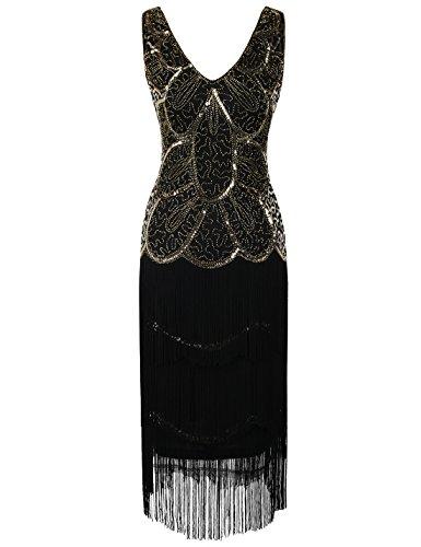 PrettyGuide Damen Flapper Art Deco Paillette Franse 1920er Gatsby Kleid M (Echte Flapper Kleid)