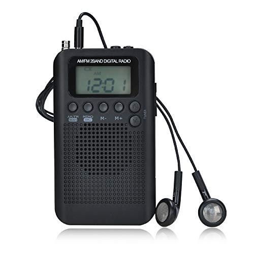 Songway Am/FM Pocket Radio Digital Relojes de Alarma Temporizador de sueño Altavoz Incorporado Radio portátil pequeña con Auricular para Actividades al Aire Libre, Correr, IR de excursión, Viajar