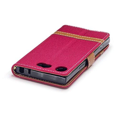 LEMORRY Sony Xperia XZ1 Compact Custodia Pelle Cuoio Flip Portafoglio Borsa Sottile Bumper Protettivo Magnetico Morbido Silicone TPU Cover Custodia per Sony XZ1 Compact, Stile del Denim Blue Rosso