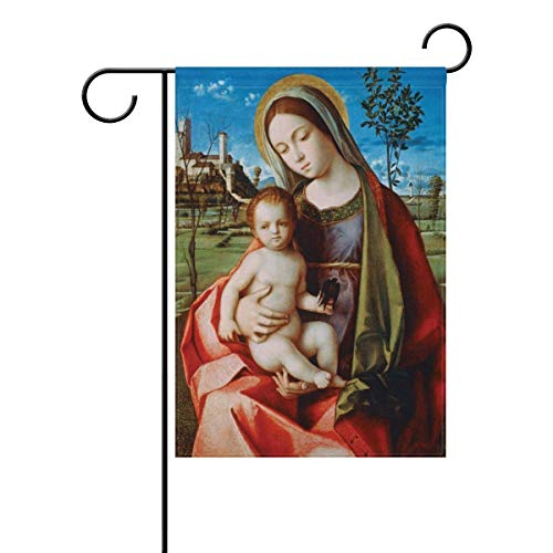 XIUZHIZH Holly Mary Blessed Virgin Mary Our Lady of Guadalupe Mother of God Weatherproof Polyester Garden Flag Seasonal Home Banner
