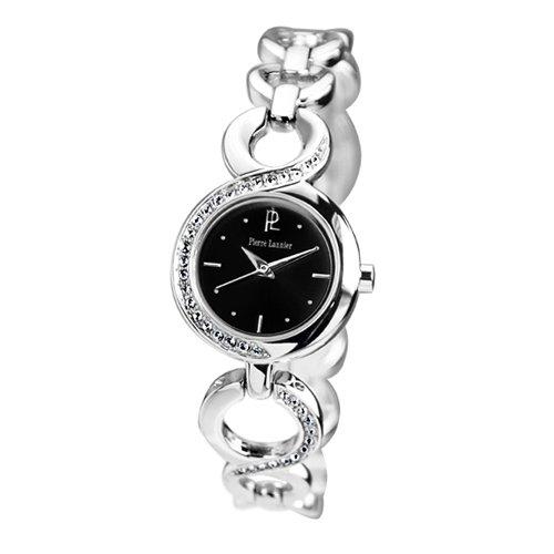 Pierre Lannier - 102M631 - Montre Femme - Quartz Analogique - Cadran Noir - Bracelet Mtal Argent - Strass
