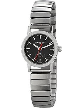 Trend-Wares Bahnhof Damen-Armbanduhr Schwarz Silber Zugband Analog Quarz Metall Damenuhr