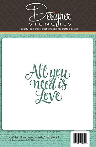 """Designer Stencils, Schablone \""""All You Need Is Love\"""" für Gebäck und Bastelarbeiten, CM095 (in englischer Sprache)"""