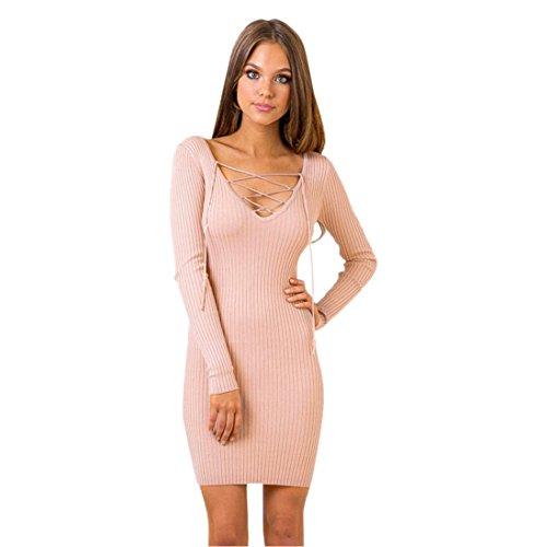 Sannysis Damen Herbst mit V-Ausschnitt-Verband-mini reizvolles Kleid Rosa