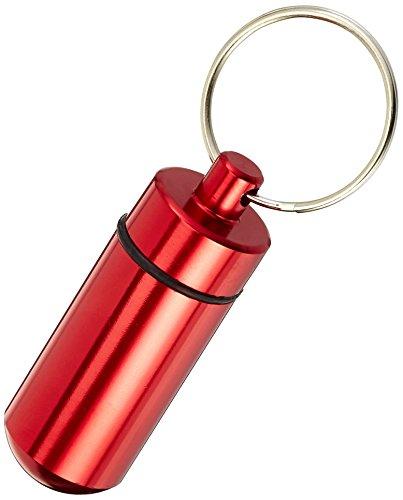 Ganzoo Pillen-Dose, Pillen-Box, Aluminium-Kapsel, Schlüssel-Anhänger mini, wasserdicht, Farbe: rot, Höhe: 45mm