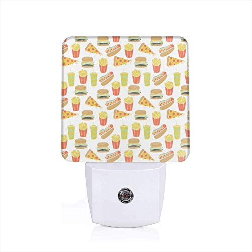 Hot Dog Pizza Fries Soda Fried Food Fast Food Print Plug-in LED Night Light with Dusk-to-Dawn Sensor for Bedroom Bathroom Kitchen Hallway Stairs Daylight White-US