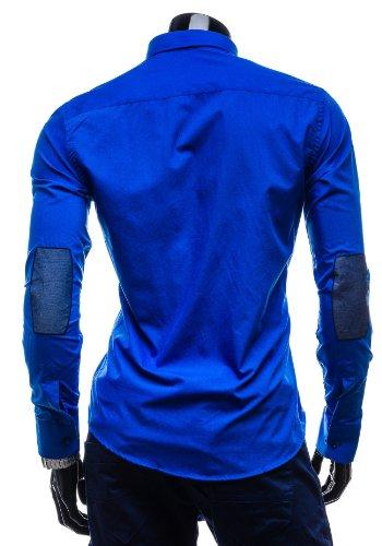 BOLF 3725 Herrenhemd Langarm Slim Fit Figurbetont Freizeithemden Top 2B2 Casual Mittelblau