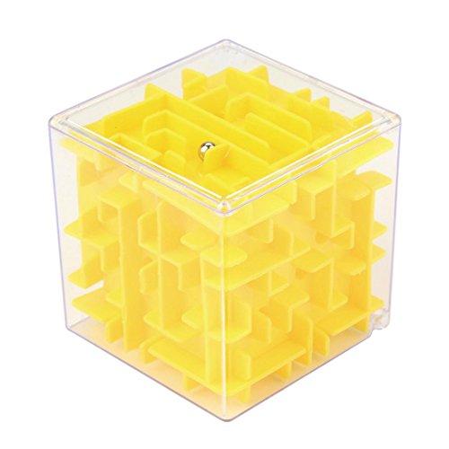 3D Labyrinth Ball, mamum 3D Cube Puzzle Labyrinth Spielzeug Hand Game Schutzhülle Box Fun Brain Game Challenge zappeln Toys Einheitsgröße gelb