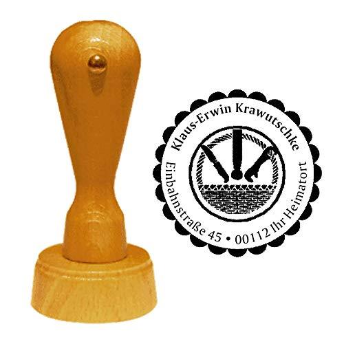 Stempel Adressstempel « KORBMACHER » Durchmesser ca. Ø 40 mm - mit persönlicher Adresse, Motiv und Zierrand - Beruf Korbflechter Flechtwerkgestalter Zunft Zunftzeichen