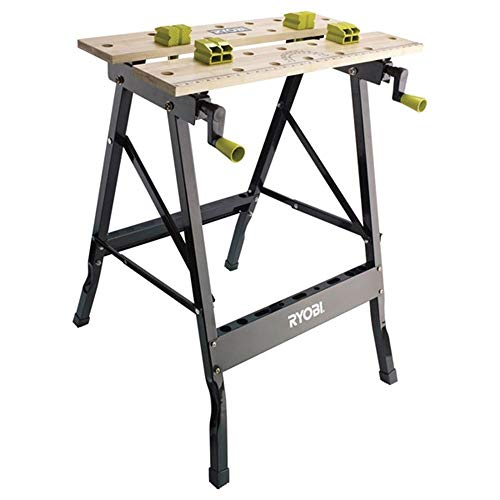 The Ryobi RWB02 foldable work bench features a clever design for portability and easy storage as well as pivoting board for additional grip and your work applications. This Adjustable Folding Work Bench top surface is made out of a quality bamboo which provides a highly durable work surface for all manner of cutting, sanding and much more.