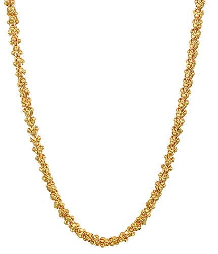 AFJ GOLD One Gram Micro Gold Plated Traditional Designer Trendy Daily Wear Chain for Women and Girls (24 inch)