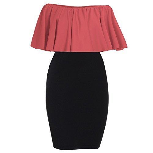 Damen Damen Contrast Schulterfrei Rüsche Smart Rüsche Schößchen ärmelloses Top Freizeit Party Mini Bodycon Kleid Plus Größen UK 8-26 Koralle