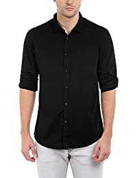 Dennis Lingo Men's Cotton Solid Casual Shirt