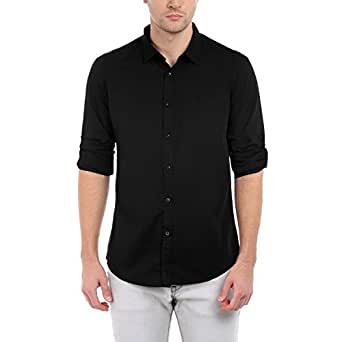 Dennis Lingo Men's Plain Slim Fit Casual Shirt (C301_Black_Small)