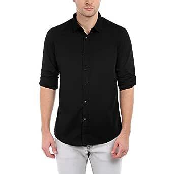 Dennis Lingo Men's Plain Slim Fit Casual Shirt (C301_Black_Small)