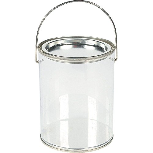 (1-Pack of 6) - Plastic Clear Paint Can Container Craft Decorating Artist Buckets - Great for Party or Baby Shower Decorations