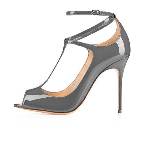EDEFS Damen Peep Toe T-Spangen Pumps Knöchelriemchen Klassische Lack Hoch Absatz Schuhe Grau