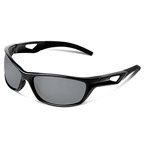 Yiph-Sunglass Sonnenbrillen Mode Polarisierte Sport-Sonnenbrille für Männer Frauen Tr90 Radfahren Baseball Laufen Angeln Golf (Farbe : Schwarz)