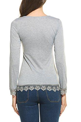 Parabler Damen T-Shirt Langarm Tops mit Spitze Langarmshirt Spitzenshirt Bluse Hemd Shirt Tunika Herbst Grau