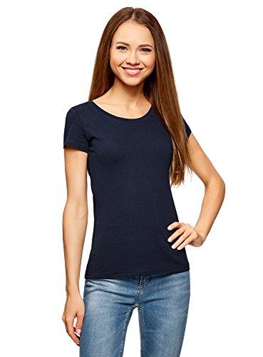 Oodji ultra donna t-shirt basic in cotone (pacco di 2), blu, it 42 / eu 38 / s