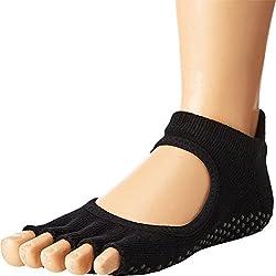 Toesox Half Toe Bellarina Calcetines de Yoga, Unisex Adulto, Negro, M