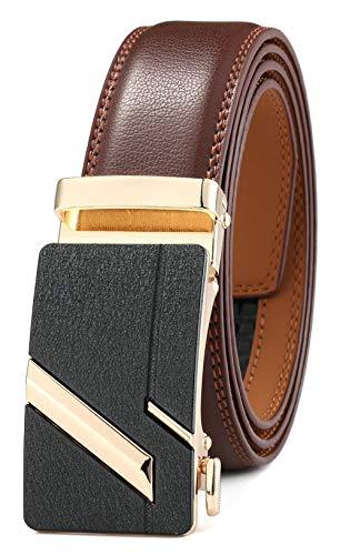 GFG Cinturón de cuero para hombres con hebilla automática 35mm Ancho-004-125-Marrón