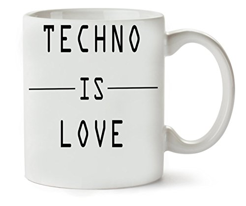 MugsWorld Techno is Black Fashioned Klassische Teetasse Kaffeetasse