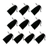 LAAT 10 pcs Imperméable Petit Sacoche de Rangement Sac de Stockage des Lunettes de Poche Sac pour USB Câble Écouteurs Protection de Power Bank Téléphone - Noir