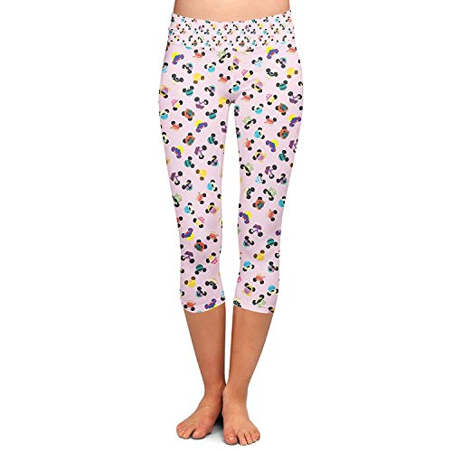 Ladies capri pants moda disney yoga abbigliamento mouse ears capri leggings skinny stretch allenamento fitness pantaloni casual pantaloni della tuta (color : colour, size : 2xl)