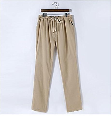 Meijunter Summer Mens Breathable Linen Slacks Pantalon en lin Flat Front Sport Pants Loose Cotton Trousers Pantalon en coton Color Beige Asian Size M