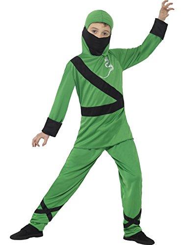 Smiffy's 21077M - Kinder Jungen Ninja Assassin Kostüm, Alter: 7-9 Jahre, Größe: M, grün/schwarz