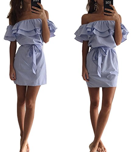 alaix-fashion-women-off-shoulder-ruffles-striped-skirt-a-line-casual-tassel-dress-with-belt-blue-l