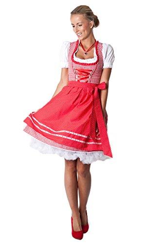 Ludwig und Therese Damen Trachten Dirndl-Set Rosalie mini rot/weiss 3-tlg 12215 40