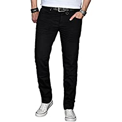 A. Salvarini Designer Herren Jeans Hose Basic Stretch Jeanshose Regular Slim [AS028 - Schwarz - W32 L34]