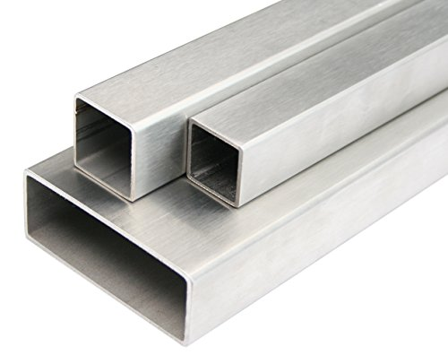 Edelstahl Rechteckrohr Vierkantrohr Konstruktionsrohr V2A 1.4301 K240 Geschliffen 50x30x2mm 500mm