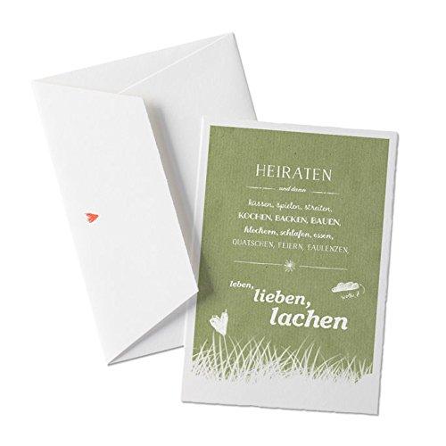 50x Hochzeitseinladungen-Set inkl. Druckservice - HEIRATEN, und dann... - GRÜN mit individueller Rückseite Hochzeitseinladung Einladungskarten-Set Büttenpapier bedruckt