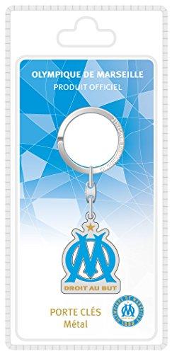 OLYMPIQUE DE MARSEILLE La Plume Dorée Logo Porte-Clefs Sous Blister Métal Multicolore 8,5 x 18 x 2,5 cm