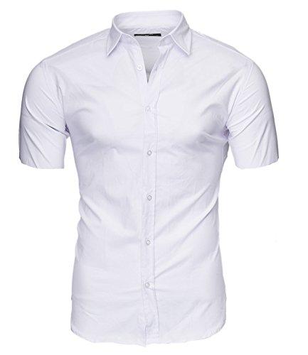 Kayhan Herren Kurzarm Hemd Caribic Weiss (3XL) (Weißes Männer-hemd)