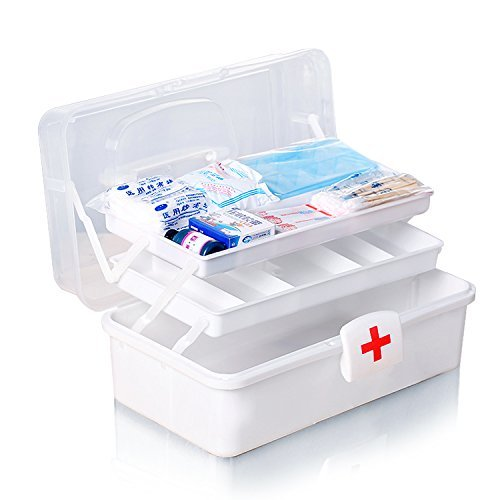 KBF Large Double Layer Home Storage Box Medicine Cabinet Drug Organizer Case First Aid Kit Box(Multi-Coloured)