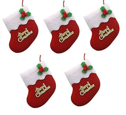 Set 5 calze di natale - merry christmas - addobbi - decorazione - natalizio - colorate - arredo - decoro - albero - casa - interni - festa - festivitÀ - colori misti