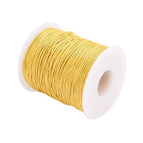pandahall Gewachstem Baumwollfaden Schnur 1 mm Gelb