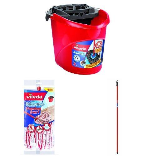 Vileda - Cubo Superfácil Torsion Power, color rojo + Vileda Premium 2 en 1 Fregona Microfibras + Vileda - Palo Universal, 140 cm, color rojo