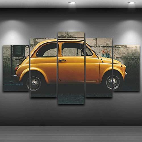 superljl Moderna Arte murale Tela Stampa HD Paesaggio Dipinto ad Olio Poster modulare 5 Pannelli Foto di Decorazioni per Auto d'Epoca Vecchio Giallo